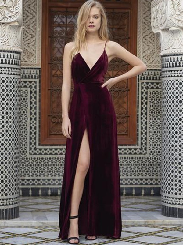 Floor-Length A-Line/Princess Spaghetti Straps Sleeveless Velvet Dresses