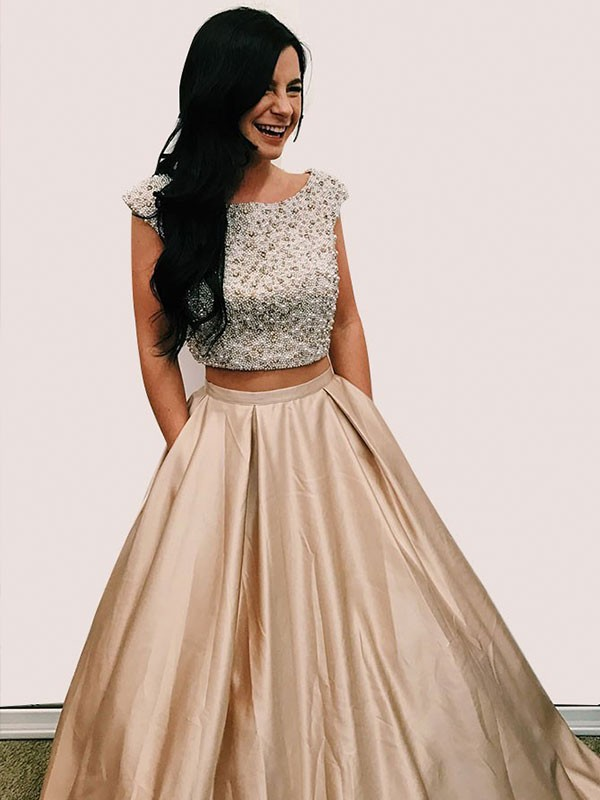 Floor-Length A-Line/Princess Scoop Sleeveless Satin Dresses
