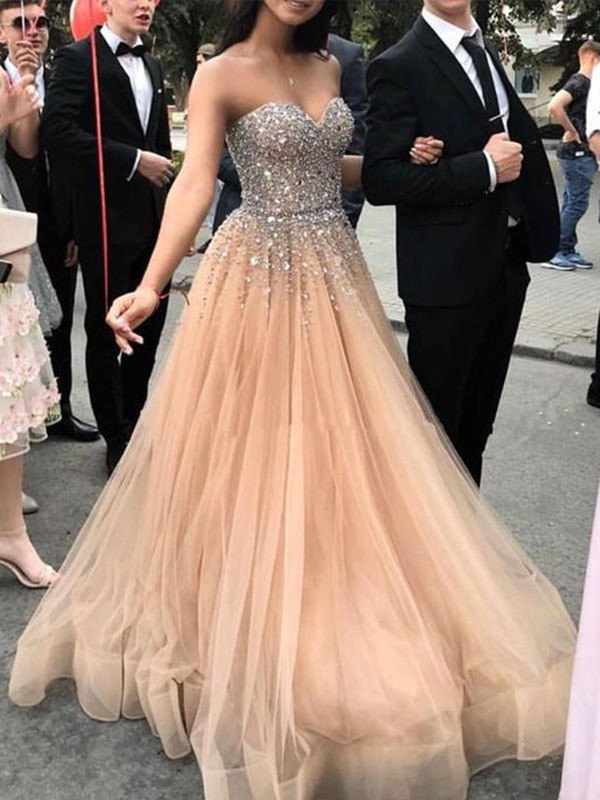 Sweep/Brush Train A-Line/Princess Sweetheart Sleeveless Tulle Dresses