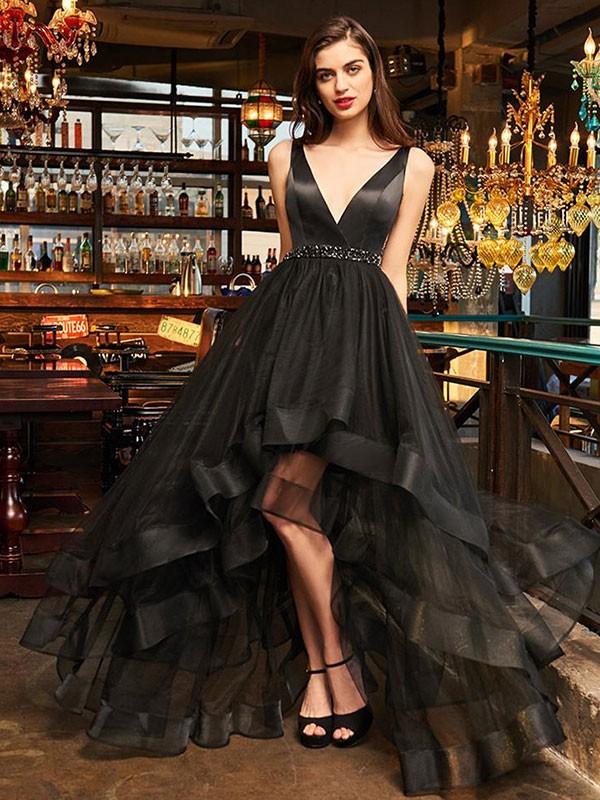 Asymmetrical A-Line/Princess V-neck Sleeveless Organza Dresses
