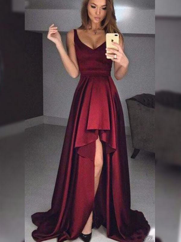 Asymmetrical A-Line/Princess Straps Sleeveless Satin Dresses