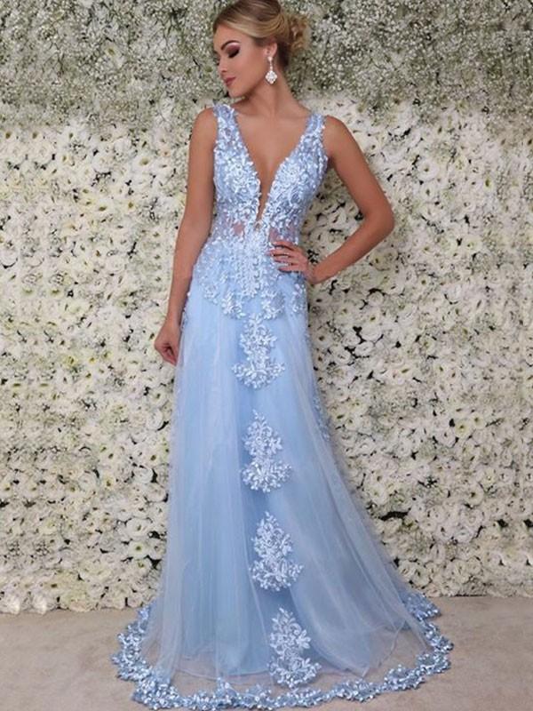 Floor-Length A-Line/Princess V-neck Sleeveless Tulle Dresses