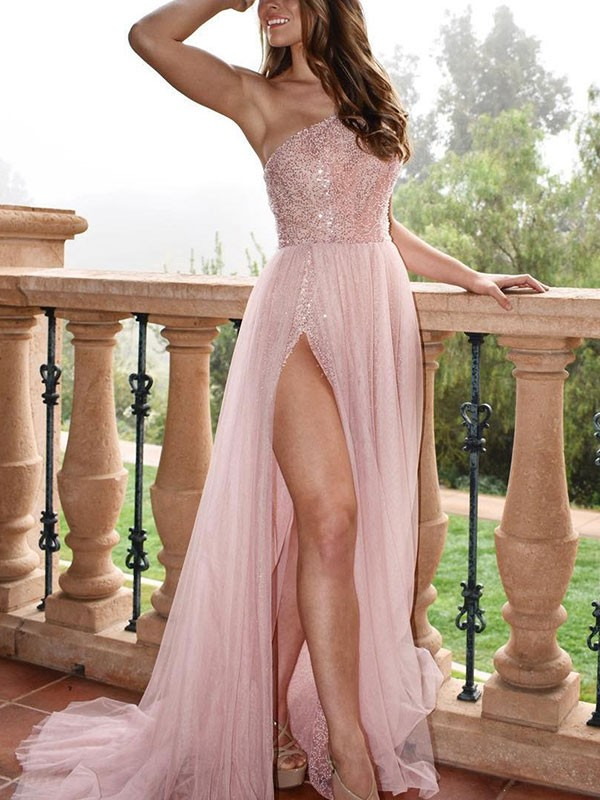 Sweep/Brush Train A-Line/Princess One-Shoulder Sleeveless Tulle Dresses