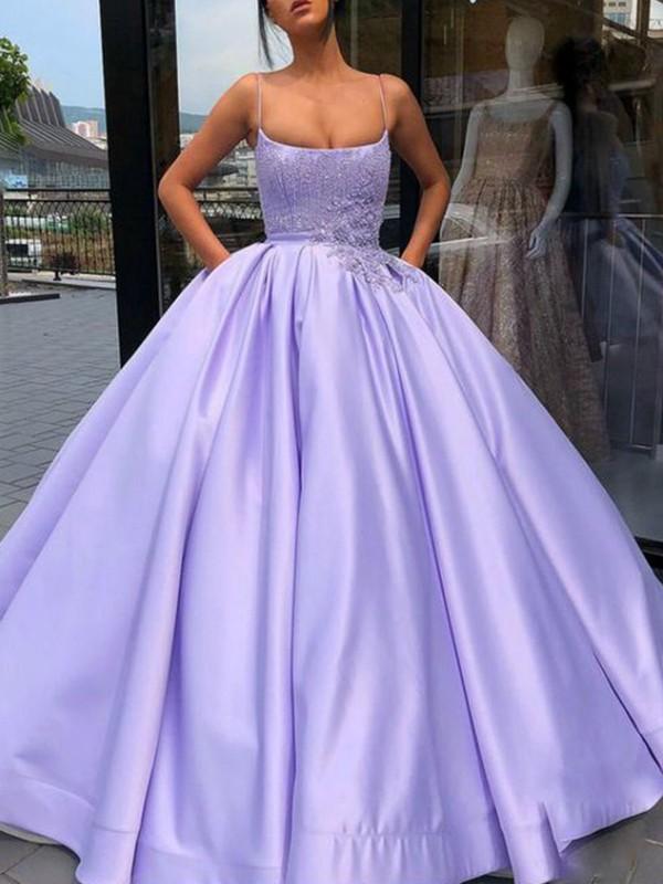Floor-Length Ball Gown Spaghetti Straps Sleeveless Satin Dresses