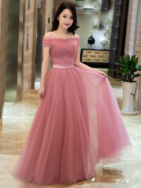 Floor-Length A-Line/Princess Off-the-Shoulder Sleeveless Tulle Dresses