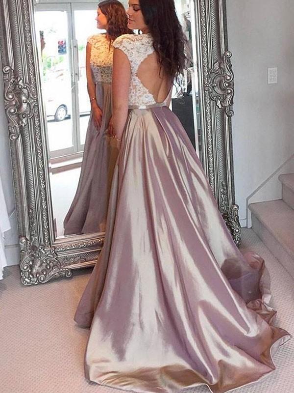 Sweep/Brush Train A-Line/Princess Jewel Sleeveless Satin Dresses