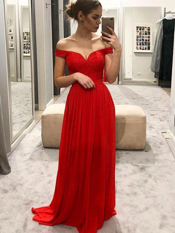 Floor-Length A-Line/Princess Off-the-Shoulder Sleeveless Chiffon Dresses