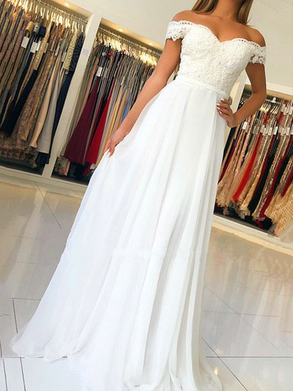 Floor-Length A-Line/Princess Off-the-Shoulder Sleeveless Chiffon Dresses