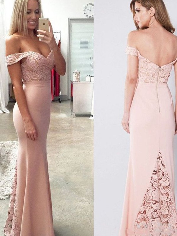 Sheath/Column Sleeveless Off-the-Shoulder Floor-Length Lace Spandex Dresses