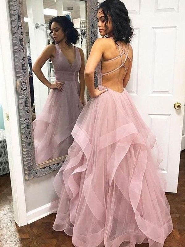 A-Line/Princess Sleeveless V-neck Floor-Length Ruffles Organza Dresses