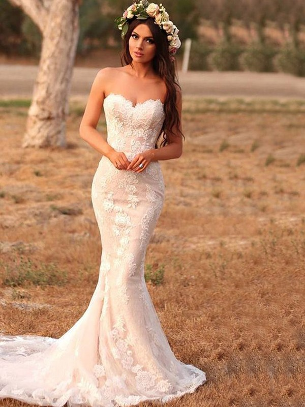 Trumpet/Mermaid Lace Applique Sweetheart Sleeveless Sweep/Brush Train Wedding Dresses