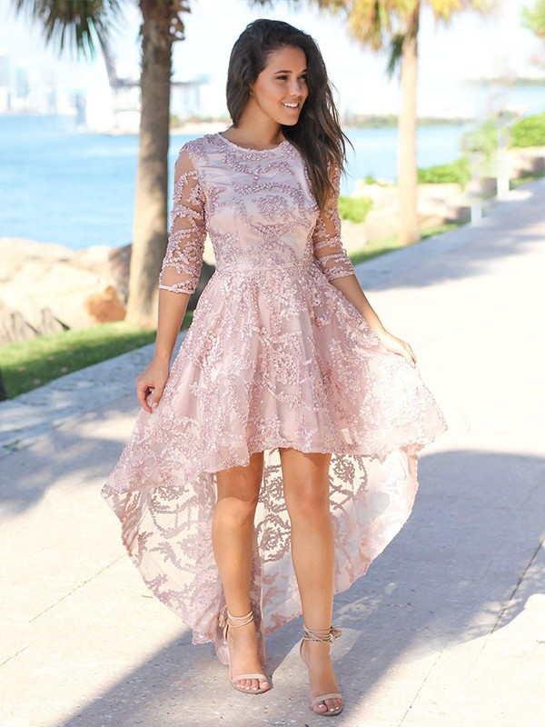 A-Line/Princess Satin Applique Sheer Neck 3/4 Sleeves Asymmetrical Homecoming Dress