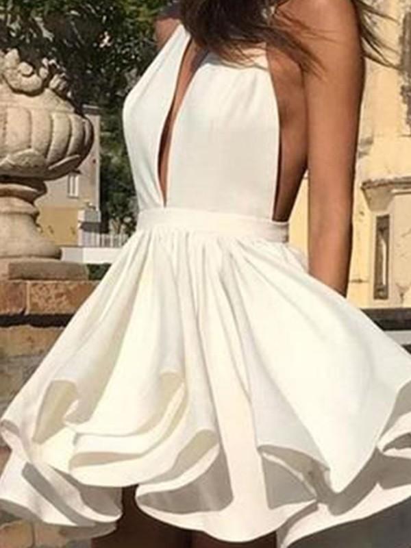 A-Line/Princess Chiffon Ruffles Halter Sleeveless Short/Mini Homecoming Dresses