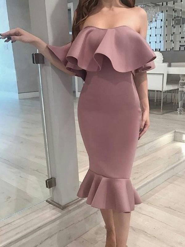 Trumpet/Mermaid Elastic Woven Satin Ruffles Strapless Sleeveless Tea-Length Homecoming Dresses