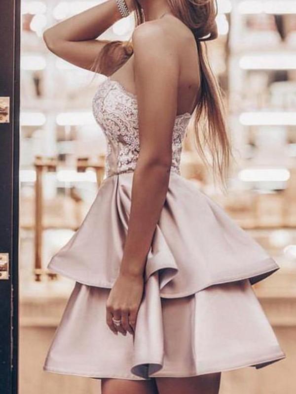A-Line/Princess Satin Applique Strapless Sleeveless Short/Mini Homecoming Dresses