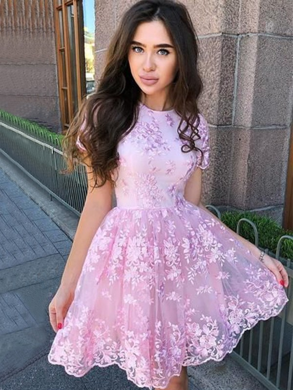 A-Line/Princess Organza Applique Sheer Neck Sleeveless Short/Mini Homecoming Dresses