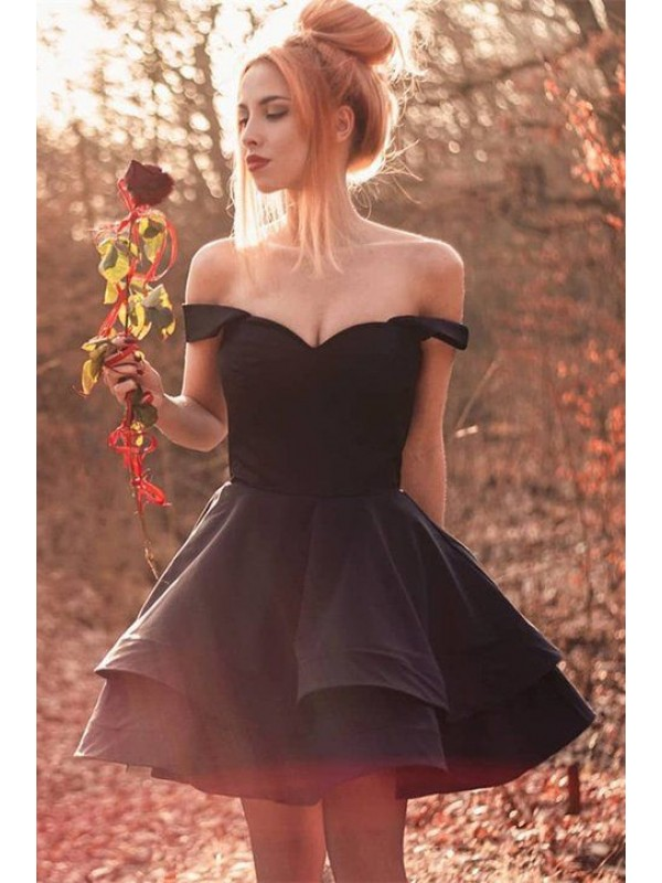 A-Line/Princess Spandex Ruffles Off-the-Shoulder Sleeveless Short/Mini Homecoming Dresses