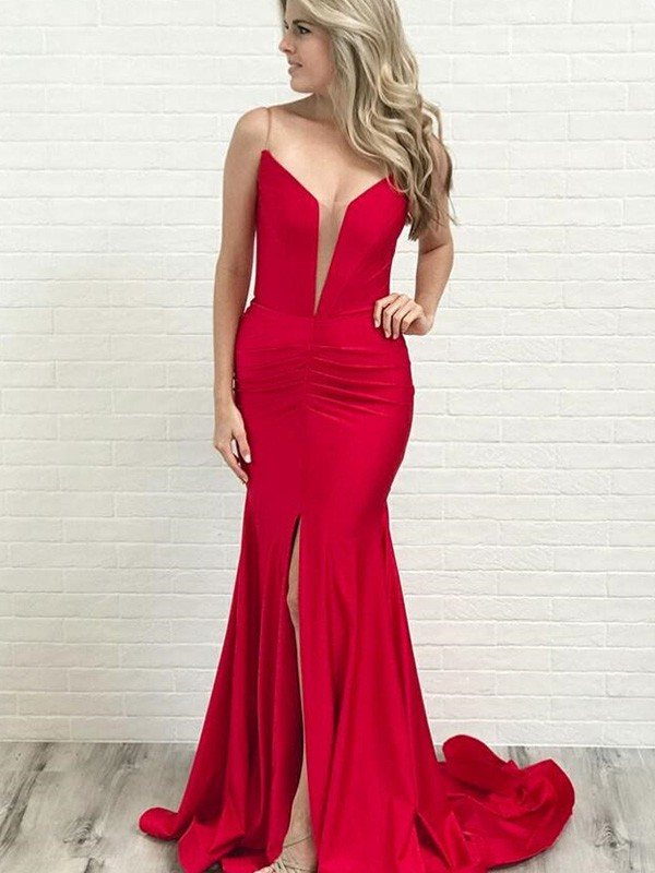 A-Line/Princess Spaghetti Straps Ruched Satin Sleeveless Court Train Dresses