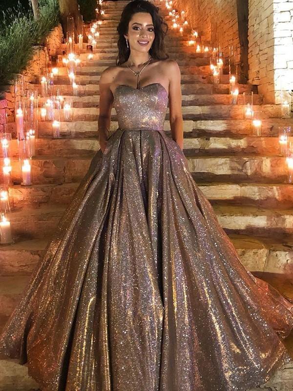 Ball Gown Ruffles Sleeveless Sequins Sweep/Brush Train Sweetheart Dresses
