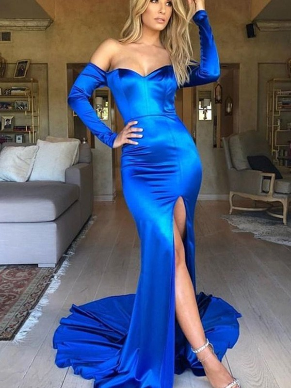 Trumpet/Mermaid Elastic Woven Satin V-neck Long Sleeves Court Train Dresses