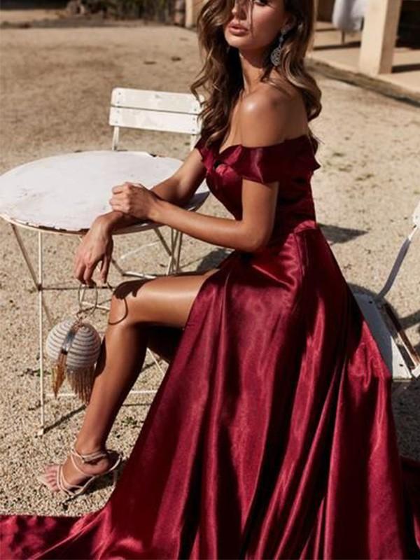 A-Line/Princess Off-the-Shoulder  Ruffles Court Train Sleeveless Dresses