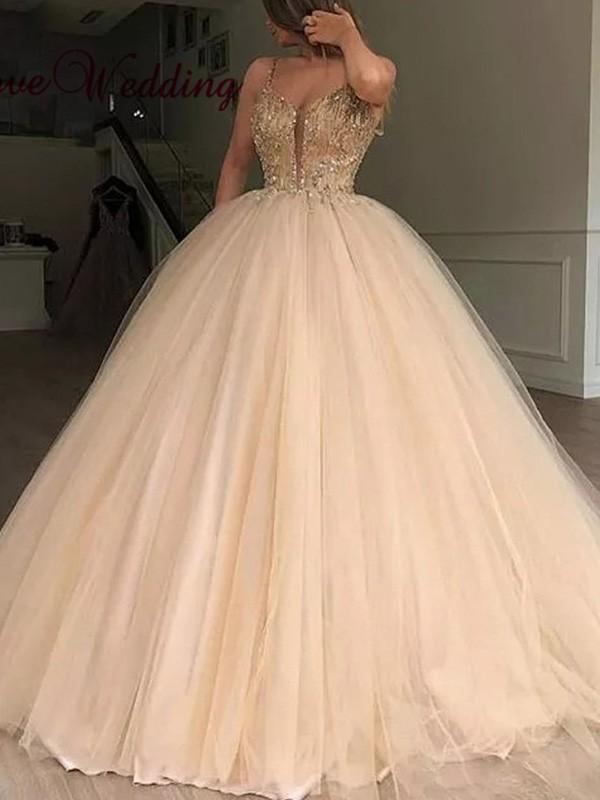 Ball Gown V-neck Tulle Sleeveless Beading Floor-Length Dresses