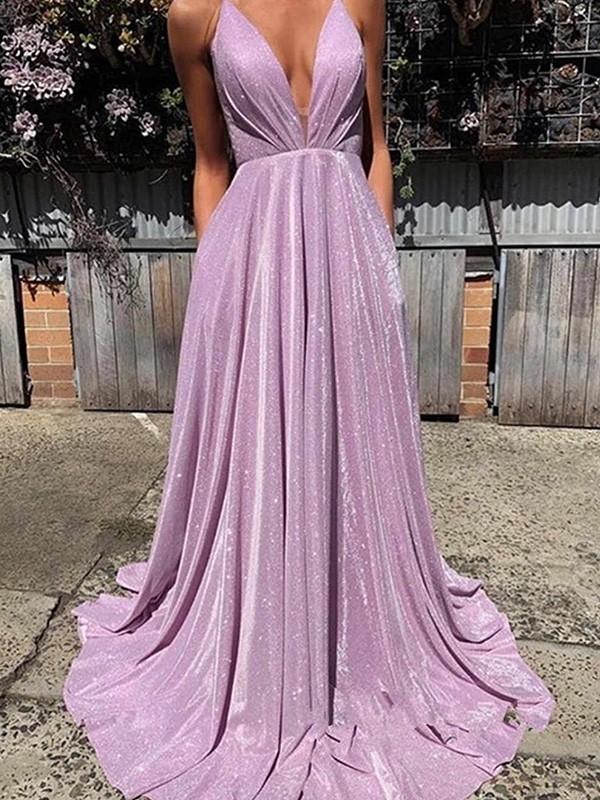 A-Line/Princess V-neck Sequins Ruffles Sleeveless Sweep/Brush Train Dresses