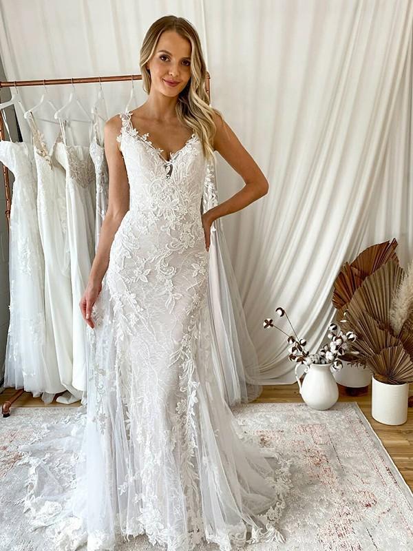 Trumpet/Mermaid Tulle Applique V-neck Sleeveless Sweep/Brush Train Wedding Dresses