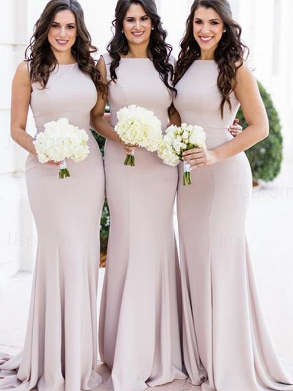 Trumpet/Mermaid Stretch Crepe Ruffles Scoop Sweep/Brush Train Sleeveless Bridesmaid Dresses