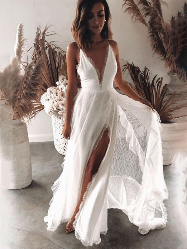 A-Line/Princess Lace Ruffles V-neck Sleeveless Sweep/Brush Train Wedding Dresses