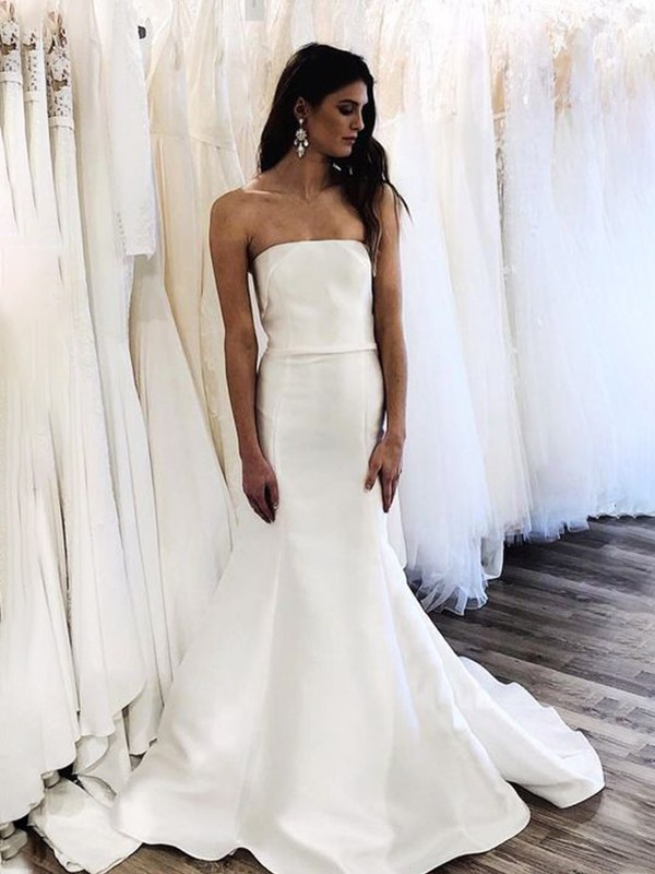Trumpet/Mermaid Satin Strapless Sleeveless Sweep/Brush Train Ruffles Wedding Dresses