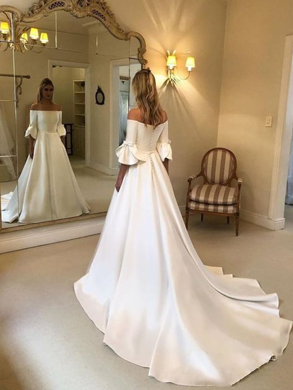 A-Line/Princess Off-the-Shoulder Charmeuse Ruffles 3/4 Sleeves Court Train Wedding Dresses