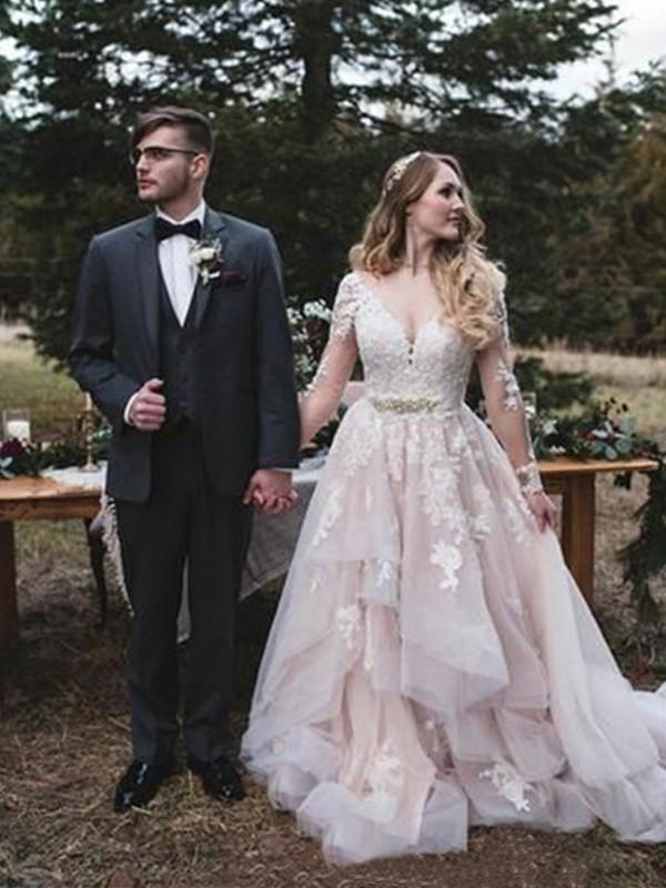 A-Line/Princess Organza Applique V-neck Long Sleeves Sweep/Brush Train Wedding Dresses