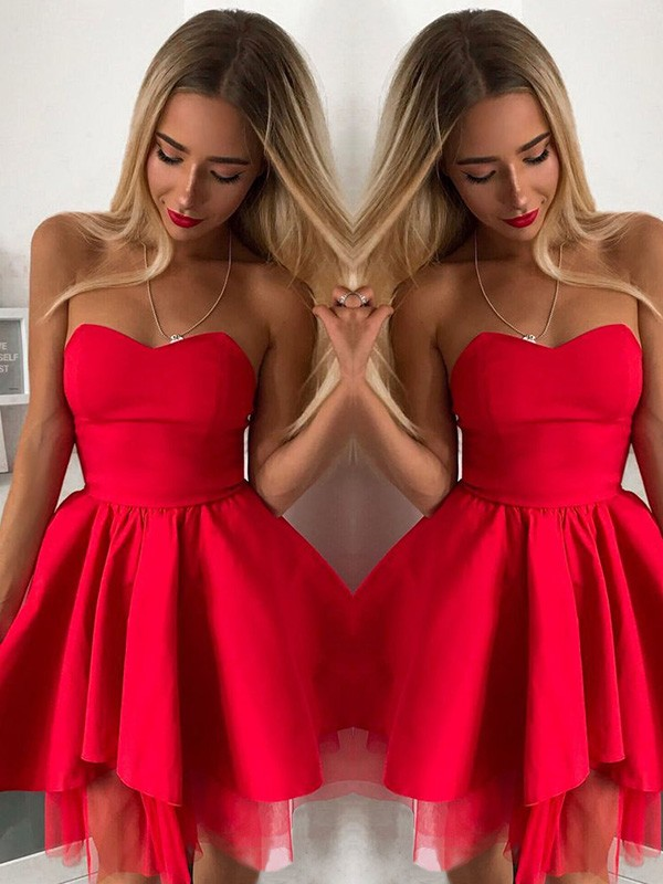 A-Line/Princess Satin Ruffles Sweetheart Sleeveless Short/Mini Homecoming Dresses