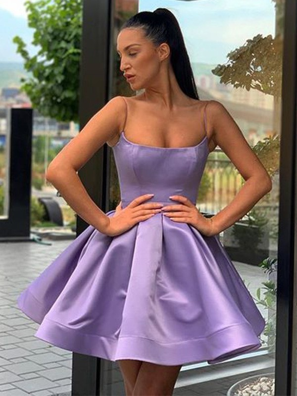 A-Line/Princess Square Satin Ruffles Sleeveless Short/Mini Homecoming Dresses