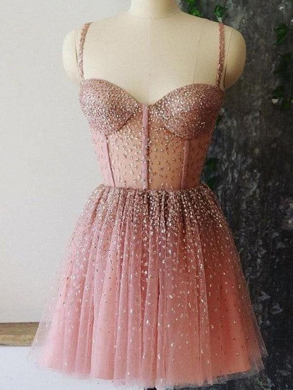 A-Line/Princess Tulle Paillette Spaghetti Straps Sleeveless Short/Mini Homecoming Dresses
