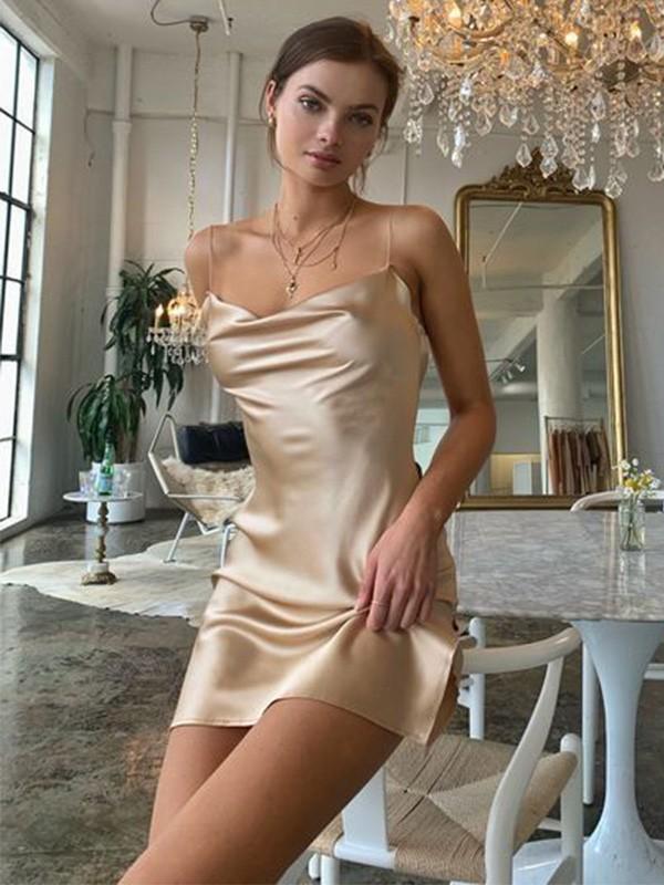 Sheath/Column Ruched Satin Sleeveless Spaghetti Straps Short/Mini Homecoming Dresses