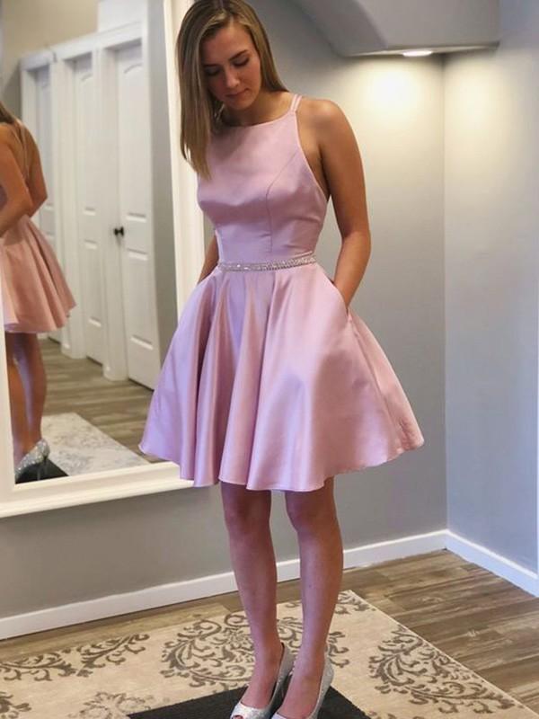 A-Line/Princess Satin With Rhinestone Straps Sleeveless Short/Mini Homecoming Dresses