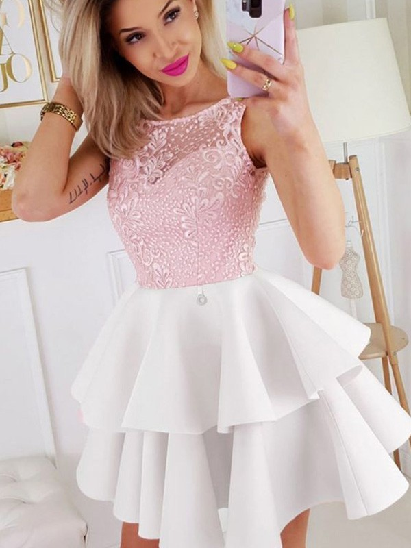 A-Line/Princess Satin Layers Scoop Sleeveless Short/Mini Homecoming Dresses