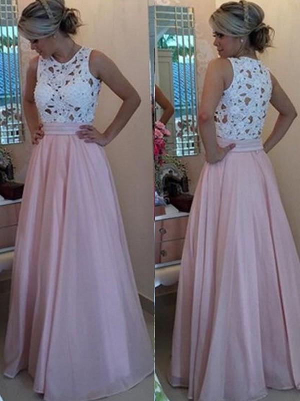 Floor-Length A-Line/Princess Scoop Sleeveless Applique Organza Dresses