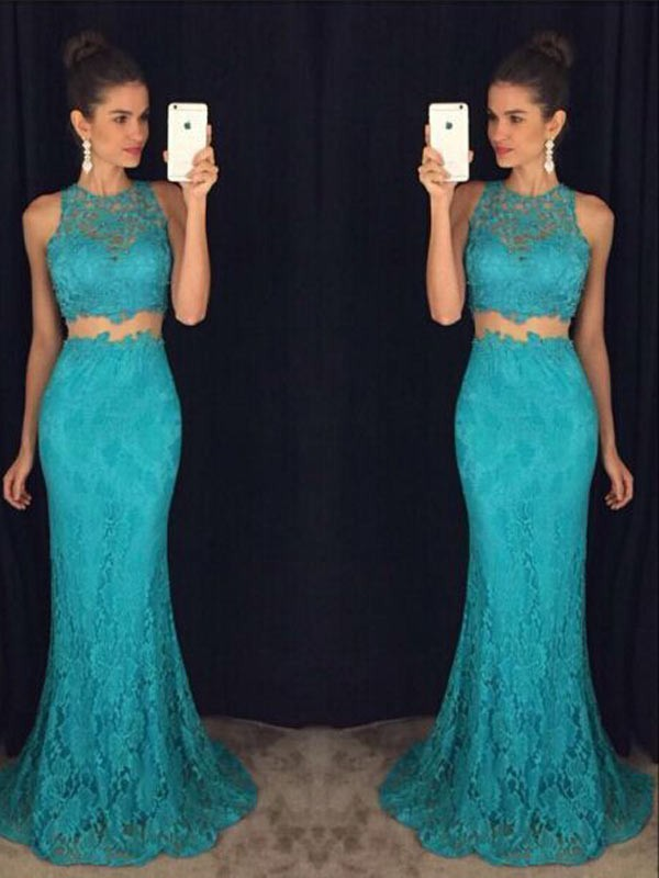 Floor-Length Sheath/Column Scoop Sleeveless Lace Dresses