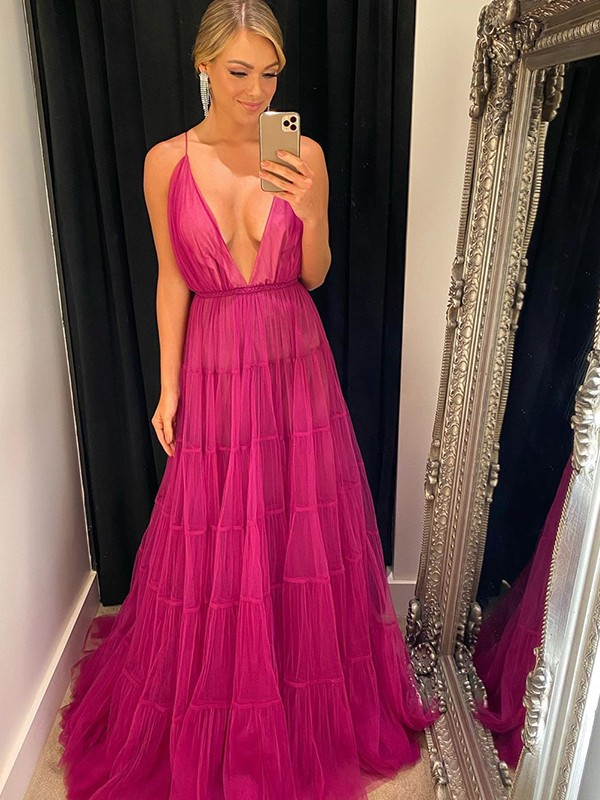 A-Line/Princess Tulle V-neck Ruffles Sleeveless Sweep/Brush Train Dresses