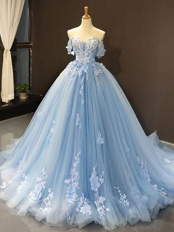 Ball Gown Tulle Off-the-Shoulder Sleeveless Applique Sweep/Brush Train Dresses