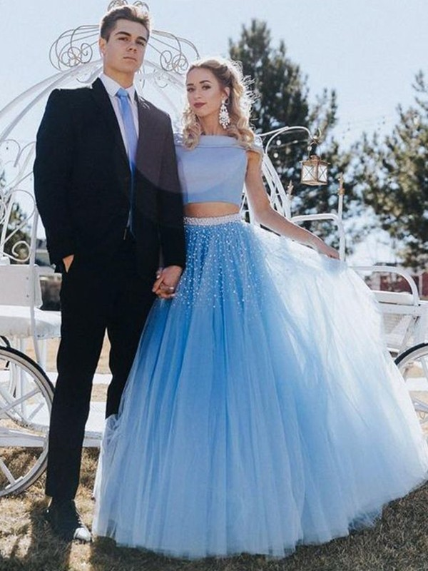A-Line/Princess Beading Off-the-Shoulder Tulle Sleeveless Floor-Length Two Piece Dresses