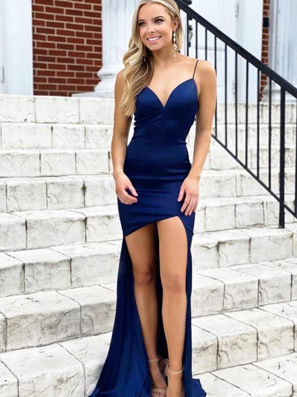 Sheath/Column Satin V-neck Ruched Sleeveless Asymmetrical Dresses