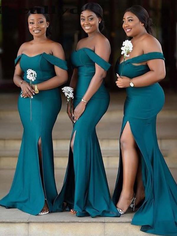 Sheath/Column Off-the-Shoulder Satin Sleeveless Ruched Sweep/Brush Train Bridesmaid Dresses