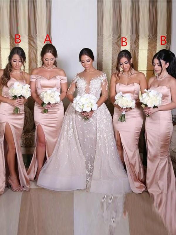 Sheath/Column  Sweetheart Sleeveless Ruched Sweep/Brush Train Bridesmaid Dresses