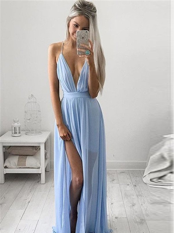 Floor-Length A-Line/Princess Spaghetti Straps Sleeveless Ruched Chiffon Dresses