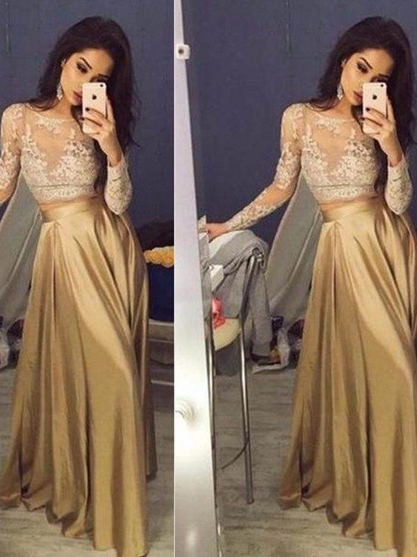 Floor-Length A-Line/Princess Scoop Long Sleeves Applique Satin Dresses