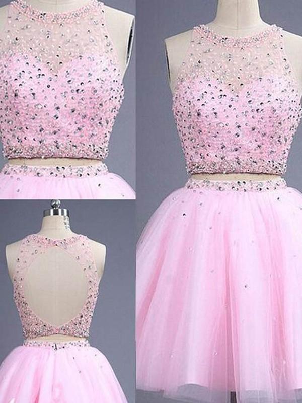Short/Mini A-Line/Princess Scoop Sleeveless Beading Tulle Dresses